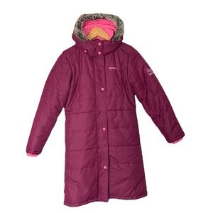 OshKosh Long Pink Quilted Puffer Coat Warm Winter Hooded Parka Girl Sz 12